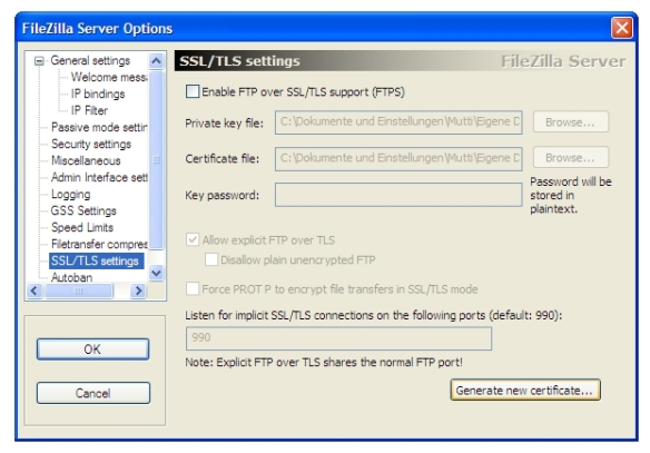 screenshot filezilla ssl tls settings
